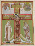 The_crucified_Christ_is_shown_fully_clothed_and_is_flanked_by_the_Virgin_Mary_and_St_John_Above_the_arms_of_the_cross_are_personifications_of_the_Sun_Sol_and_the_Moon_Luna